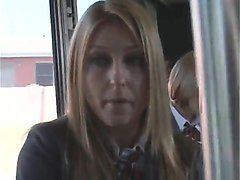 Asian, Bus, Blonde, Tied groped