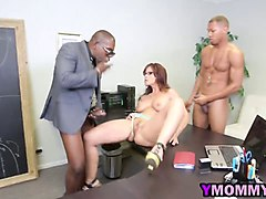 Black, Milf, Threesome, Homemade amateur threesome with wife